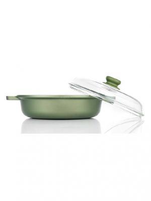 Сковорода глубокая с двумя ручками и стеклянной крышкой 24 см Dr. Green Risoli. Цвет: зеленый