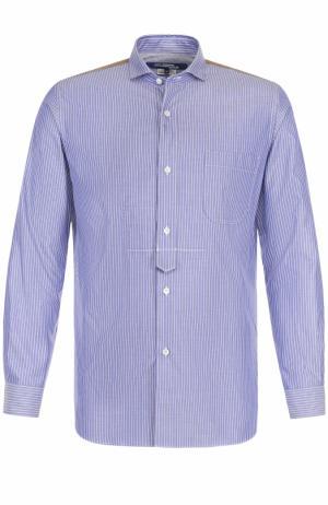 Хлопковая рубашка свободного кроя с контрастной отделкой Junya Watanabe. Цвет: разноцветный