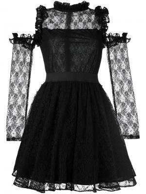 Кружевное платье с открытыми плечами Manoush. Цвет: чёрный