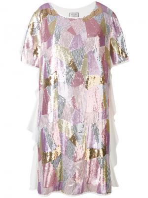 Платье-футболка с пайетками Paul & Joe. Цвет: белый