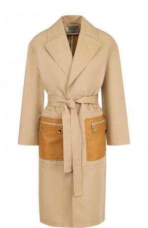 Хлопковое однотонное пальто с кожаными карманами Yves Salomon. Цвет: бежевый