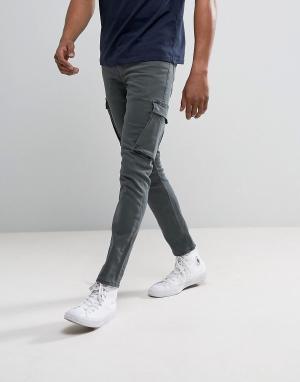 River Island Зауженные джинсы-карго цвета хаки. Цвет: зеленый