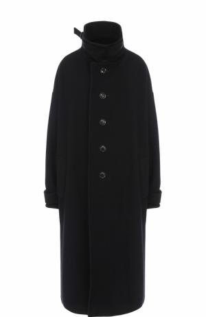 Шерстяное пальто свободного кроя с воротником-стойкой Yohji Yamamoto. Цвет: черный