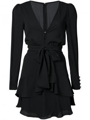 Расклешенное платье с V-образным вырезом For Love And Lemons. Цвет: чёрный