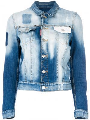 Выбеленная джинсовая куртка Dsquared2. Цвет: синий