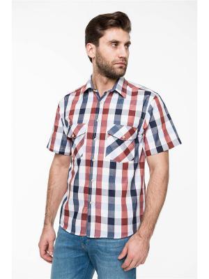 Рубашка Westrenger. Цвет: темно-красный, белый, красный