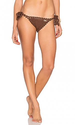 Crochet side tie bikini bottom SHE MADE ME. Цвет: коричневый