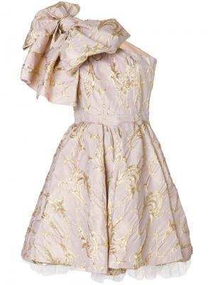 Коктейльное платье с крупным бантом MSGM. Цвет: телесный
