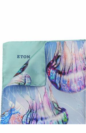 Шелковый платок с принтом Eton. Цвет: голубой