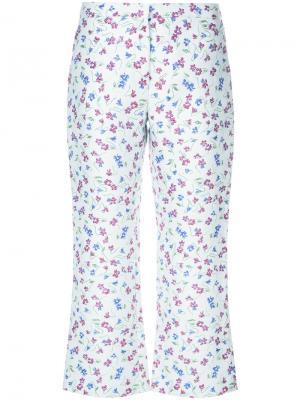 Укороченные брюки с цветочным принтом Altuzarra. Цвет: белый