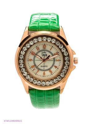 Часы Taya. Цвет: золотистый, зеленый
