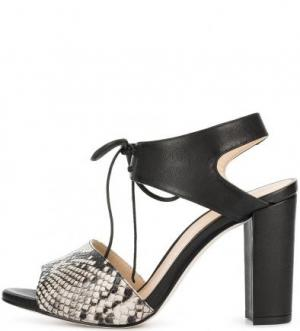Кожаные босоножки на высоком каблуке UNISA. Цвет: черный