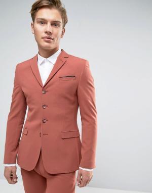 ASOS Супероблегающий пиджак кораллового цвета с застежкой на четыре пуговиц. Цвет: рыжий