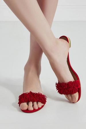 Замшевые сандалии Wild Thing Aquazzura. Цвет: красный