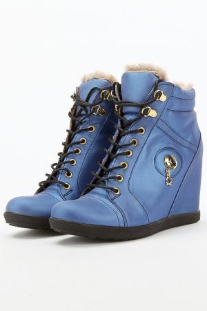 Зимние ботильоны Aquamarin. Цвет: голубой