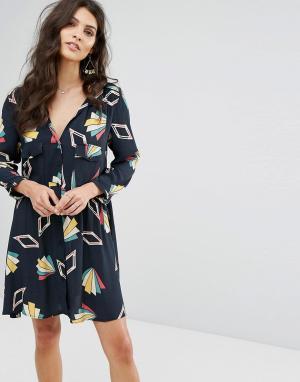 BA&SH Свободное платье с принтом. Цвет: черный