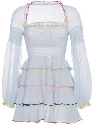Платье мини с ярусными оборками Evian Sandy Liang. Цвет: синий