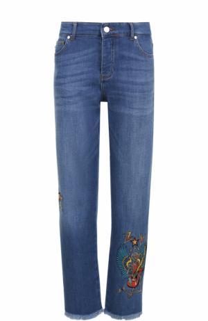 Укороченные джинсы прямого кроя с вышивкой Zadig&Voltaire. Цвет: голубой