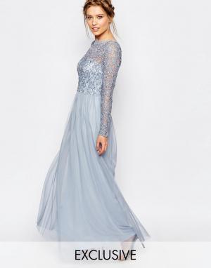 Frock and Frill Платье макси с кружевным верхним слоем. Цвет: синий