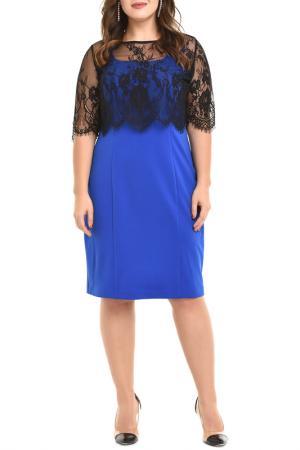 Полуприлегающее платье с кружевной накидкой Svesta. Цвет: синий, черный