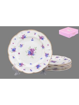 Набор тарелок Сиреневый туман Elan Gallery. Цвет: белый, голубой, сиреневый