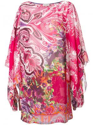 Пляжное платье с цветочным узором Etro. Цвет: красный