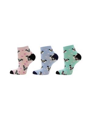 Носки, 3 пары HOSIERY. Цвет: зеленый, голубой, розовый