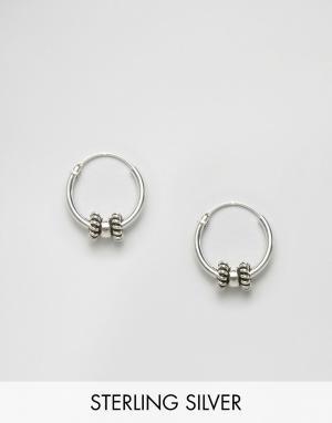 Kingsley Ryan Серебряные серьги-кольца с отделкой. Цвет: серебряный