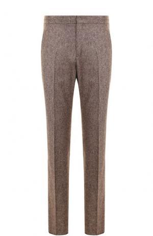 Шерстяные брюки прямого кроя Z Zegna. Цвет: светло-коричневый