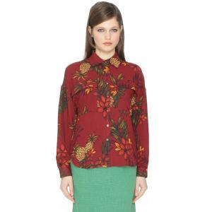 Рубашка с воротником-поло и рисунком PEPALOVES. Цвет: рисунок бордовый