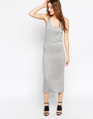 Back By Ann Sofie Эластичное платье-майка с логотипом. Цвет: серый меланж