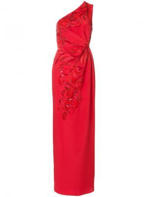 Платье со сборками с пайетками Emilio Pucci. Цвет: красный