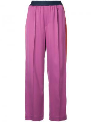 Широкие брюки с лампасами Astraet. Цвет: розовый и фиолетовый