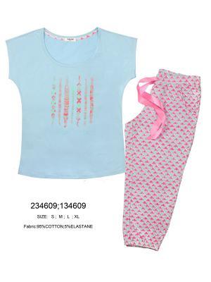 Пижама INDEFINI. Цвет: серый, голубой