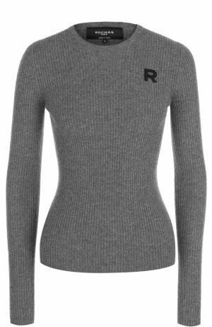 Кашемировый облегающий пуловер Rochas. Цвет: серый