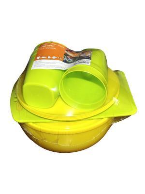 Набор для пикника Ели-пили на 4 персоны микс Plastic Centre. Цвет: желтый