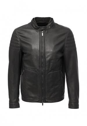 Куртка кожаная Boss Hugo. Цвет: серый