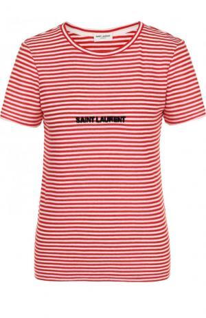 Хлопковая футболка в полоску с круглым вырезом Saint Laurent. Цвет: красный