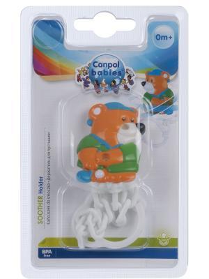 Клипса-держатель для пустышек - Animals, 0+, рисунок: мишка Canpol babies. Цвет: оранжевый