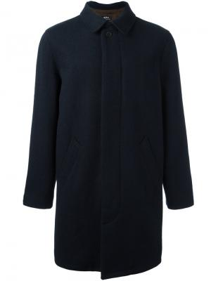 Однобортное пальто A.P.C.. Цвет: синий
