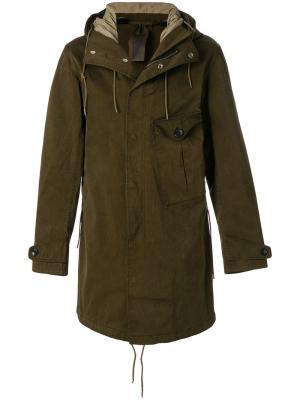 Пальто с капюшоном Ten-C. Цвет: зелёный