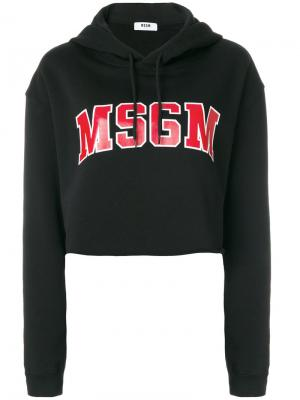 Укороченная толстовка с принтом-логотипом MSGM. Цвет: чёрный