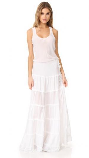Длинное платье Ida Poupette St Barth. Цвет: белый
