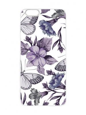 Чехол для iPhone 6 Фиолетовые бабочки Chocopony. Цвет: сиреневый, белый, серый