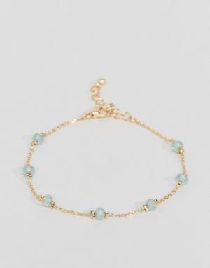 ASOS Тонкий браслет-цепочка с камнями. Цвет: медный