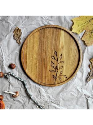 Тарелка - поднос круг Ажурная ветвь На дубе том. Цвет: коричневый