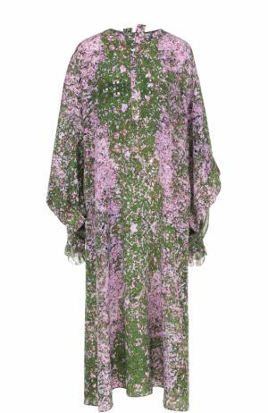 Шелковое платье свободного кроя с цветочным принтом Natasha Zinko. Цвет: разноцветный