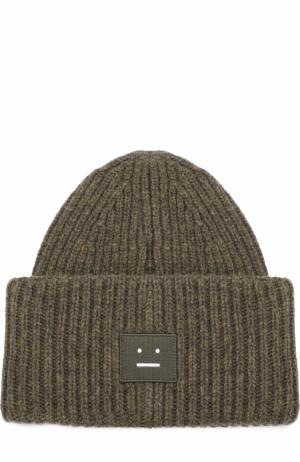 Шерстяная шапка фактурной вязки Acne Studios. Цвет: хаки