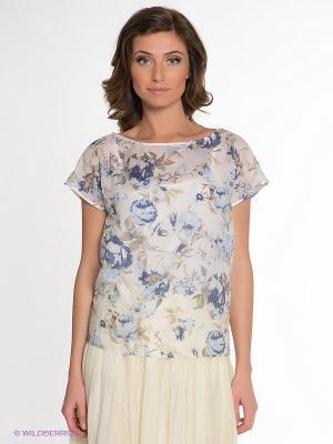 Блузка IMAGO. Цвет: белый, синий, бежевый