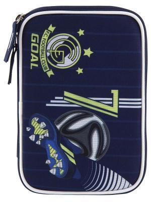 Пенал с канцтоварами цвета FC Real Madrid Реал Мадрид Target. Цвет: темно-синий,синий,серо-голубой
